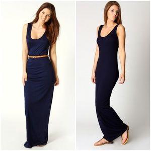 Boohoo Navy Blue Knit Maxi Dress